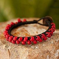 Leather and wood wristband bracelet, 'Crimson Mantra' - Handmade Guatemalan Leather Bracelet with Red Wood Beads