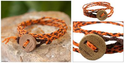 Cotton wrap bracelet, 'Joy' - Cotton wrap bracelet