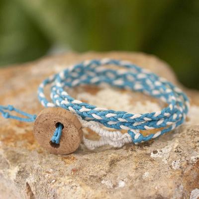 Cotton wrap bracelet, 'Peace' - Central American Turquoise Cotton Wrap Bracelet