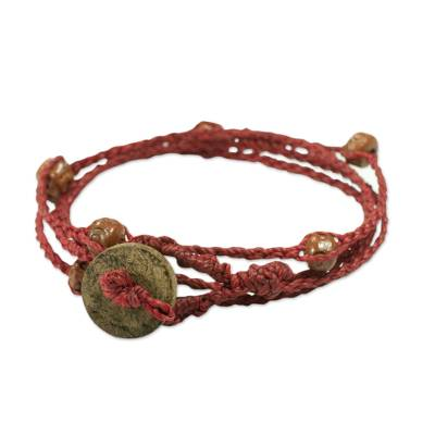 Unique Cotton Wrap Bracelet with Ceramic Beads