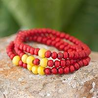 Men's wood beaded bracelets, 'Crimson Spirituality' (set of 3) - Men's Handcrafted Wood Bead Stretch Bracelets (Set of 3)