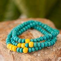 Men's wood beaded bracelets, 'Azure Spirituality' (set of 3) - Men's Set of 3 Blue and Yellow Wood Beaded Bracelets