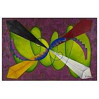 'Road to Xibalba' - Abstract Cubist Painting from Central America