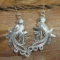 Sterling silver dangle earrings, 'Guatemalan Quetzal' - Fair Trade Sterling Silver Dangle Bird Earrings