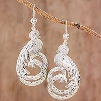 Sterling silver dangle earrings, 'Quetzal Elegance' - Sterling silver dangle earrings