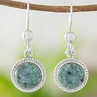 Jade dangle earrings, 'Mixco Moon'