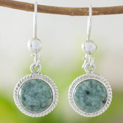 Jade dangle earrings, 'Mixco Moon' - Hand Made Sterling Silver Dangle Jade Earrings
