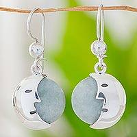 Jade dangle earrings, 'Face of the Moon' - Jade dangle earrings