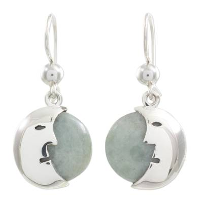 Jade dangle earrings, 'Face of the Moon' - Jade dangle earrings