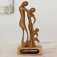 Mahogany sculpture, 'My Family' - Central American Wood Sculpture