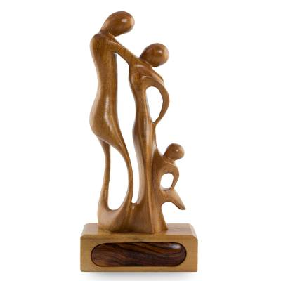 Mahogany sculpture, 'My Family' - Mahogany sculpture