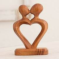 Mahogany sculpture, 'The Kiss of Love' - Hand Carved Heart Shaped Mahogany Wood Sculpture