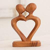Mahogany sculpture, 'The Kiss of Love' - Hand Carved Heart Shaped Mahogany Wood Sculpture