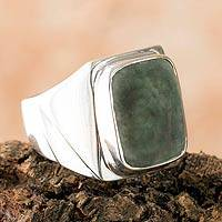 Men's jade ring, 'Jade Fortress' - Handcrafted Jade Ring from Guatemala