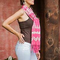 Cotton scarf, 'Hot Pink Solola' - Hand Made Cotton Scarf from Central America