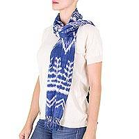 Cotton scarf, 'Solola Blue Depths' - Hand Woven Cotton Scarf from Guatemala