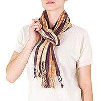 Cotton scarf, 'Earthly Maya' - Cotton scarf