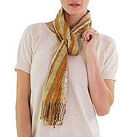 Cotton scarf, 'Brown Intrigue' - Cotton scarf