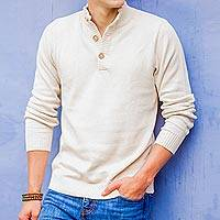 Men's cotton sweater, 'Ivory Comfort'