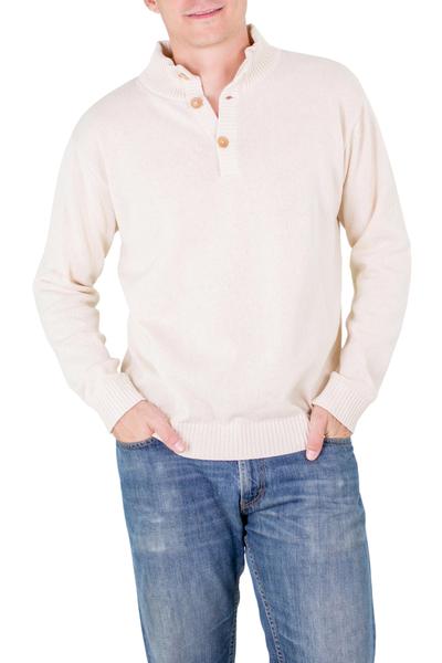 Men's cotton sweater, 'Ivory Comfort' - Men's cotton sweater