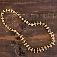 Recycled paper and pinewood beaded necklace, 'Song of the Forest' - Recycled paper and pinewood beaded necklace