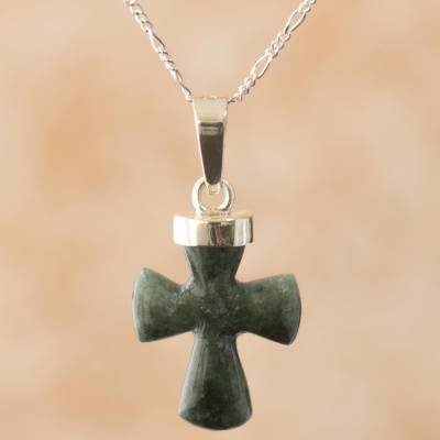 Jade cross necklace, 'Immortal Hope' - Handcrafted Jade Cross Necklace