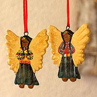 Ceramic ornaments, 'Guatemala Guardian Angels' (set of 6) - Ceramic ornaments (Set of 6)