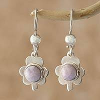 Jade dangle earrings, 'Lilac Clover' - Jade dangle earrings