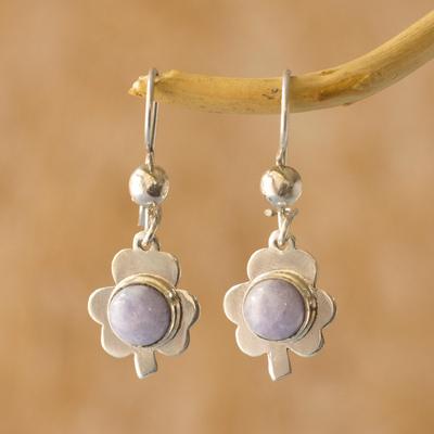 Jade dangle earrings, 'Lilac Clover' - Jade dangle earrings