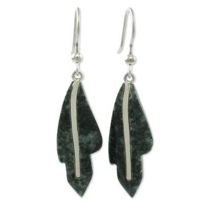 Jade dangle earrings, 'Philodendron in Dark Green' - Jade dangle earrings