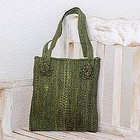 Maguey shoulder bag, 'Green Maya Flowers' - Maguey shoulder bag