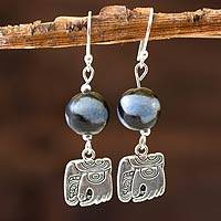 Ceramic dangle earrings, 'Nahual Wisdom'