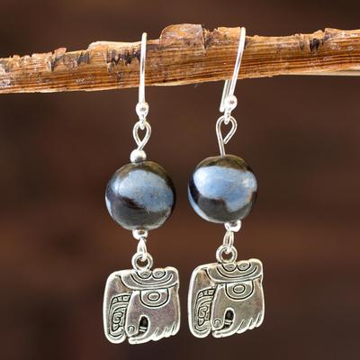 Ceramic dangle earrings, 'Nahual Wisdom' - Hand Crafted Central American Ceramic Dangle Earrings