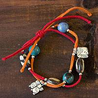 Leather and ceramic charm bracelet, 'Maya Destiny' - Leather and ceramic charm bracelet