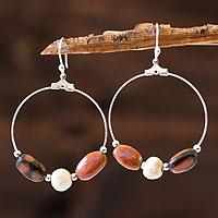 Ceramic dangle earrings, 'Tenampua Muse' - Ceramic dangle earrings