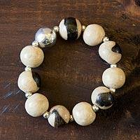 Ceramic beaded stretch bracelet, 'Azacualpa Ivory' - Ceramic beaded stretch bracelet