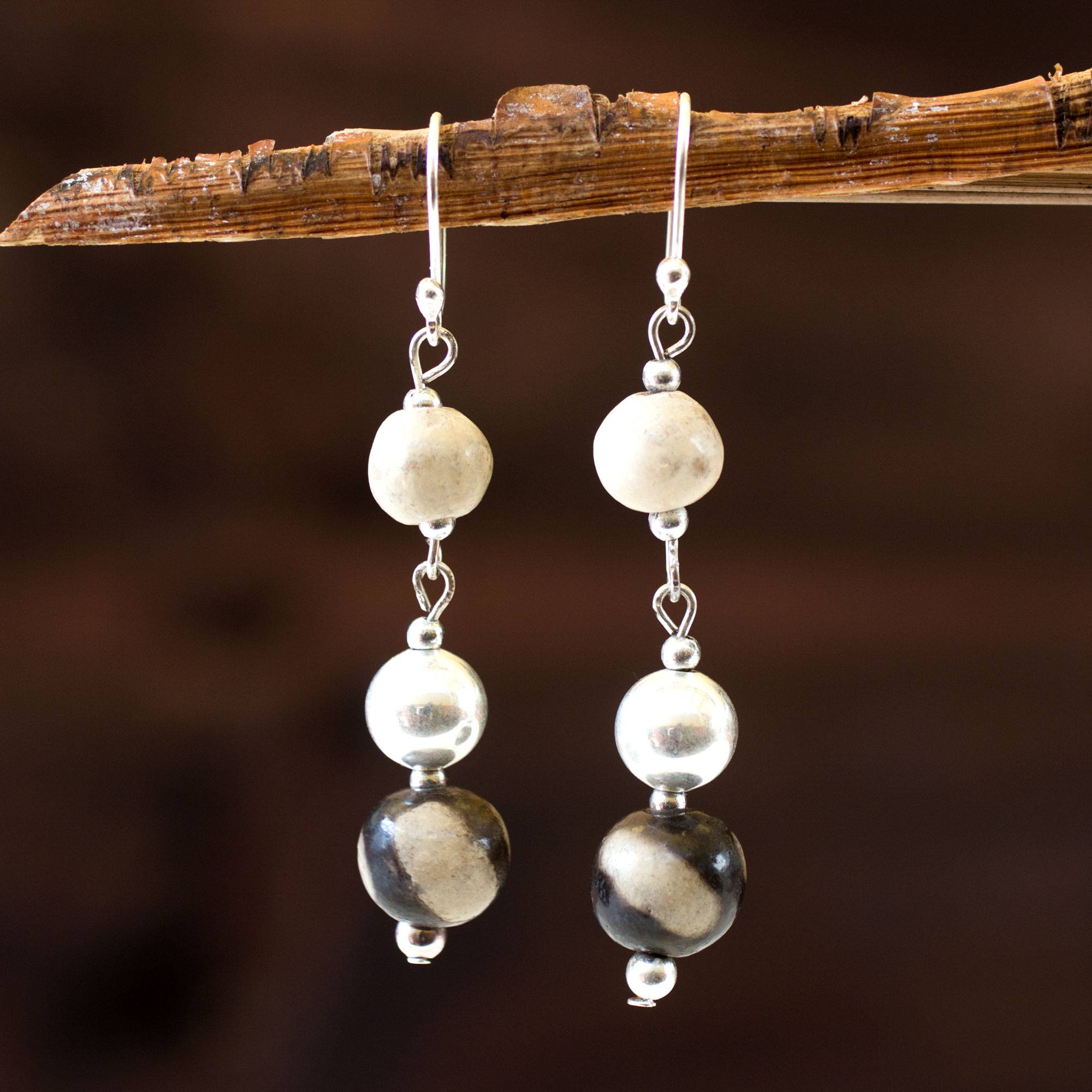 Novica Ceramic beaded earrings, Azacualpa Water - Ceramic Beaded Dangle Earrings