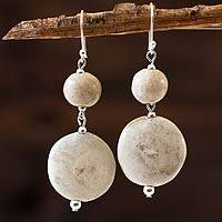 Ceramic dangle earrings, 'Azacualpa Legacy' - Ceramic Beaded Earrings on Sterling Silver Hooks