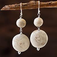 Ceramic dangle earrings, 'Azacualpa Legacy' - Ceramic Beaded Earrings on Sterling Silver Hooks