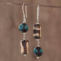 Ceramic beaded earrings, 'Azacualpa Blue' - Unique Ceramic Bead Dangle Earrings