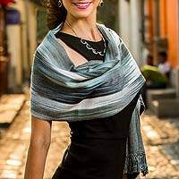 Rayon chenille shawl, 'Gray Ethereal Inspiration' - Fair Trade Hand-Woven Women's Bamboo Shawl