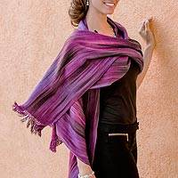 Rayon chenille shawl, 'Purple Ethereal Inspiration'