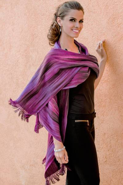 Rayon chenille shawl, 'Purple Ethereal Inspiration' - Unique Bamboo fibre Shawl