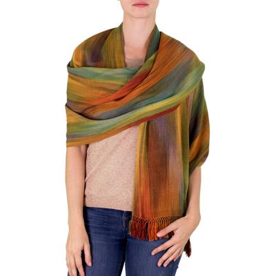 Rayon chenille shawl, 'Nature's Ethereal Inspiration' - Guatemalan Bamboo fibre Shawl