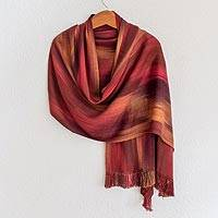 Rayon chenille shawl, 'Fiery Ethereal Inspiration' - Handcrafted Bamboo Shawl from Guatemala