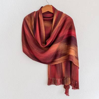 Rayon chenille shawl, 'Maya Firebird' - Unique Bamboo fibre Shawl