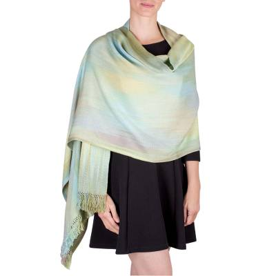 Rayon chenille shawl, 'Serenity's Ethereal Inspiration' - Unique Bamboo fibre Shawl