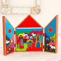 Pinewood retablo, 'Christmas in El Salvador' - Pinewood retablo