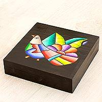 Wood decorative box, 'Cheerful Bird' - Wood decorative box