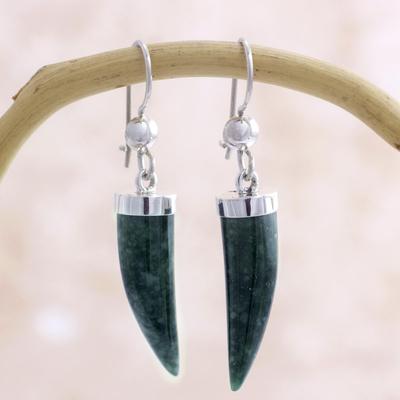 Jade dangle earrings, 'Forest Cat' - Artisan Crafted Sterling Silver Dark Green Jade Earrings